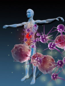 Animated man with bacteria showing moving towards him