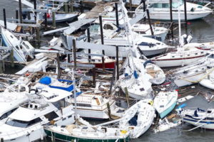 Boats damaged by Hurricane Harvey,Texas