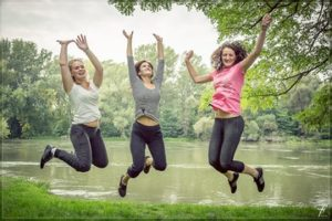 Woman jumping with happieness