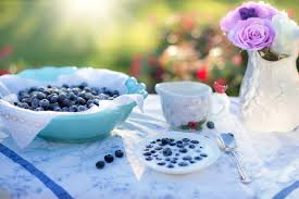 Blueberries over plate of cottage cheese