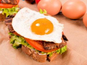 Egg Yolk with Egg White on sandwich