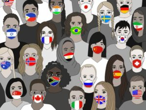 Illustration of people wearing masks for the United Nations