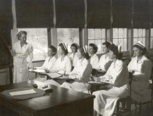 Navy nurses attending class circa 1940